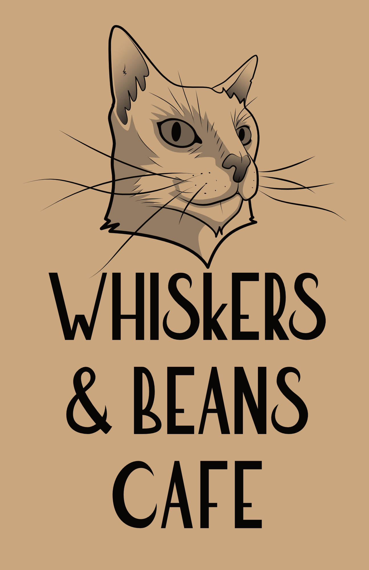 Whiskers & Beans Cafe Logo - brown