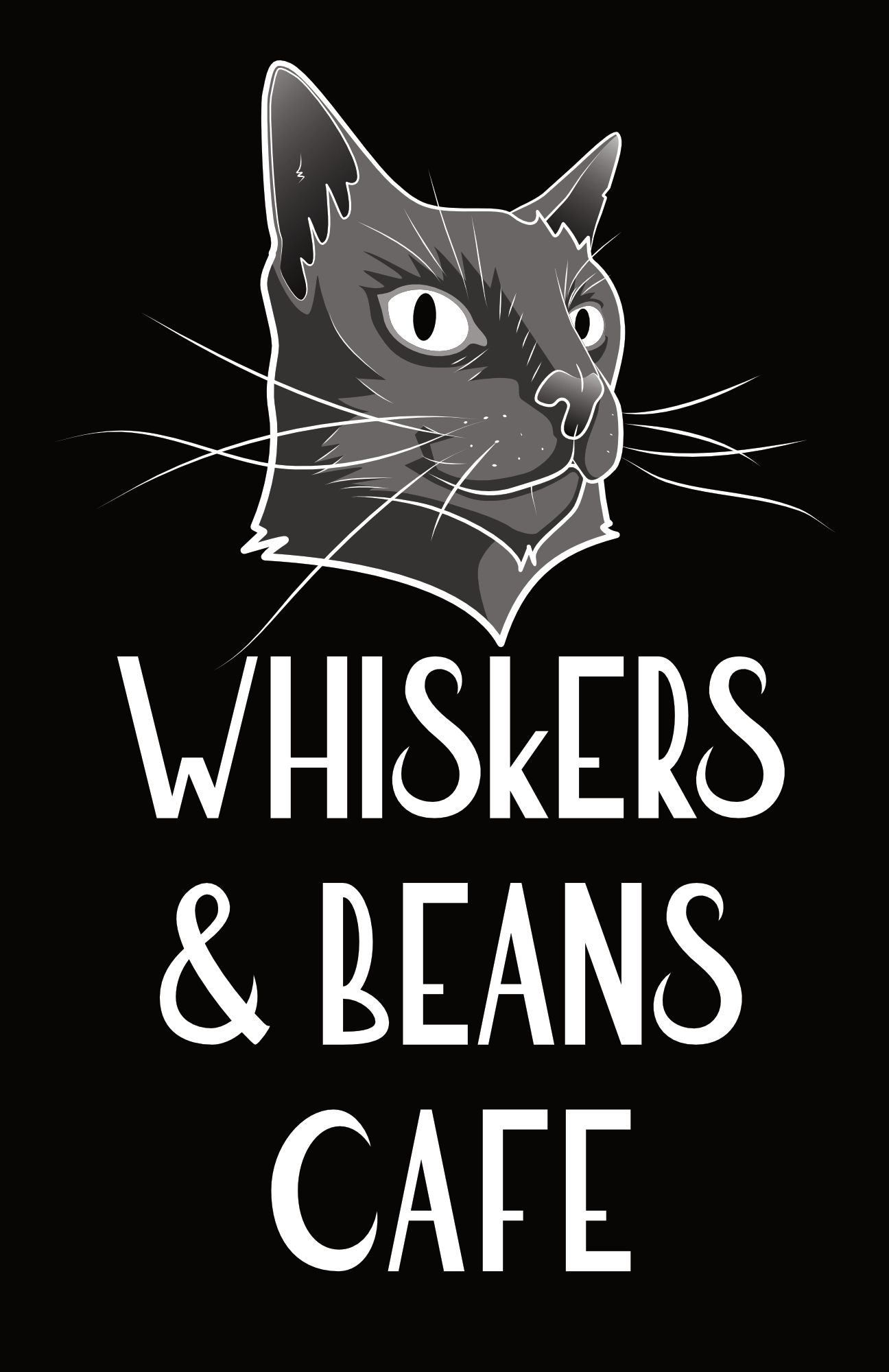 Whiskers & Beans Cafe Logo - black
