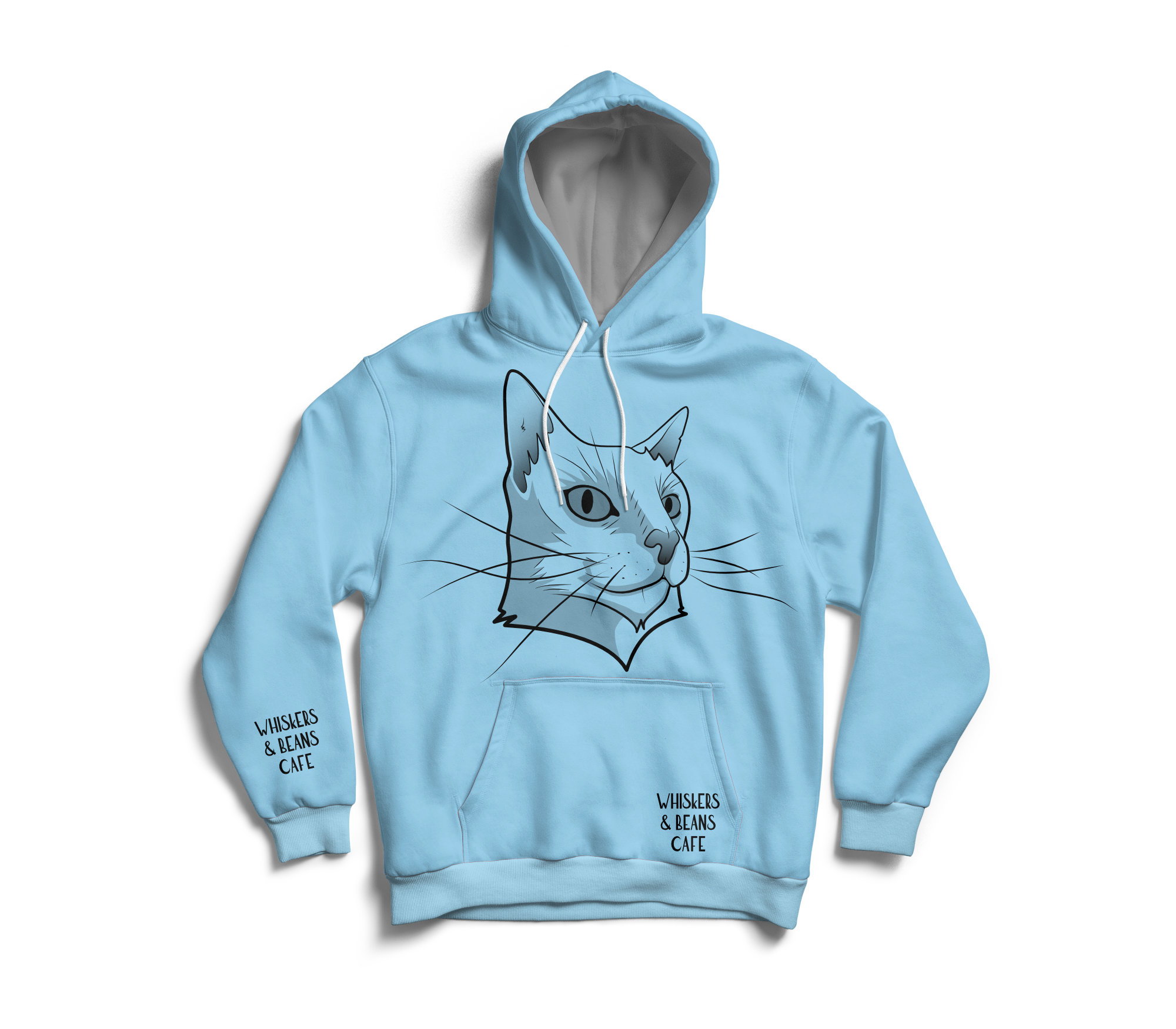 Whiskers & Beans Cafe Hoodie - blue