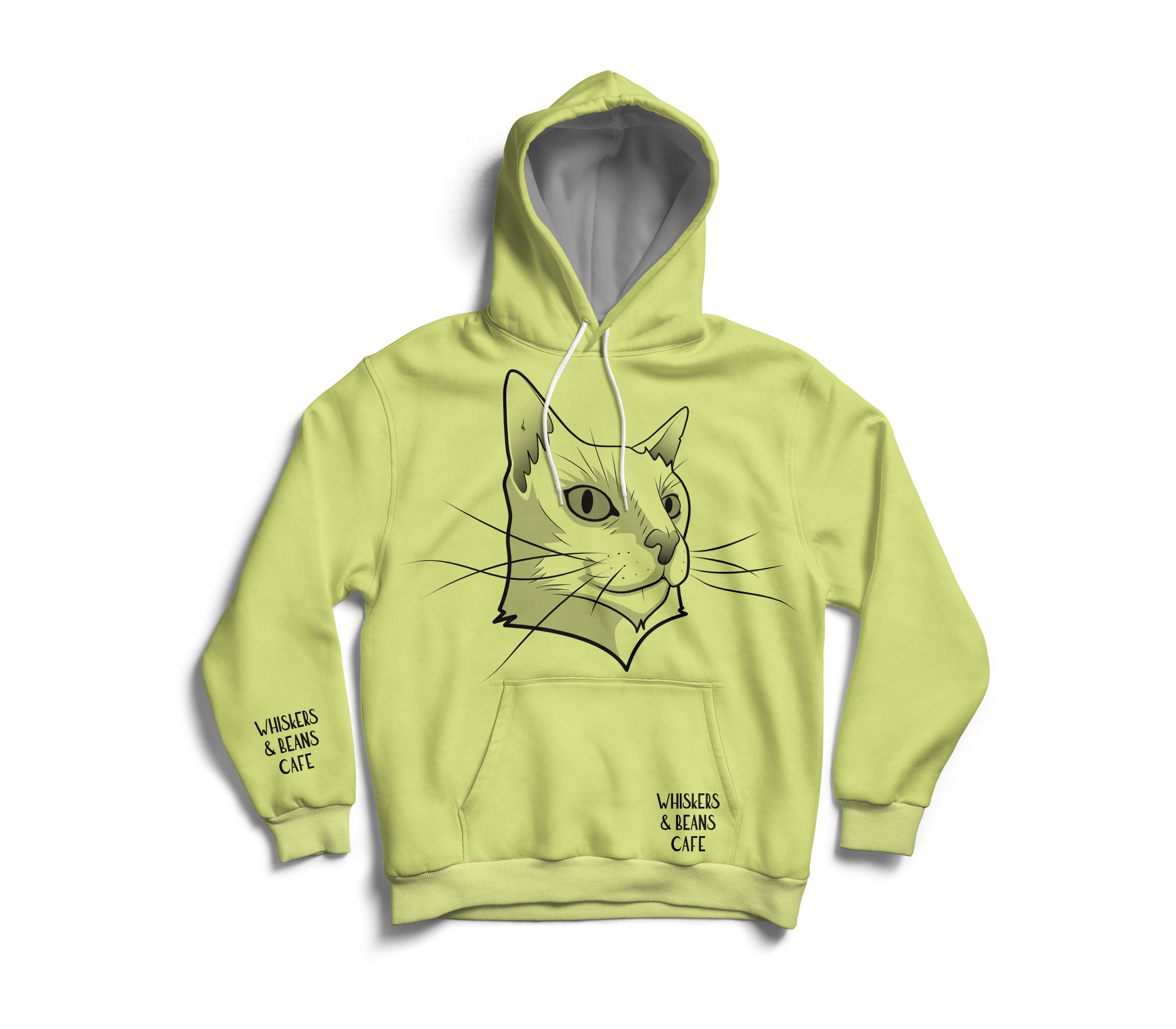 Whiskers & Beans Cafe Hoodie - green