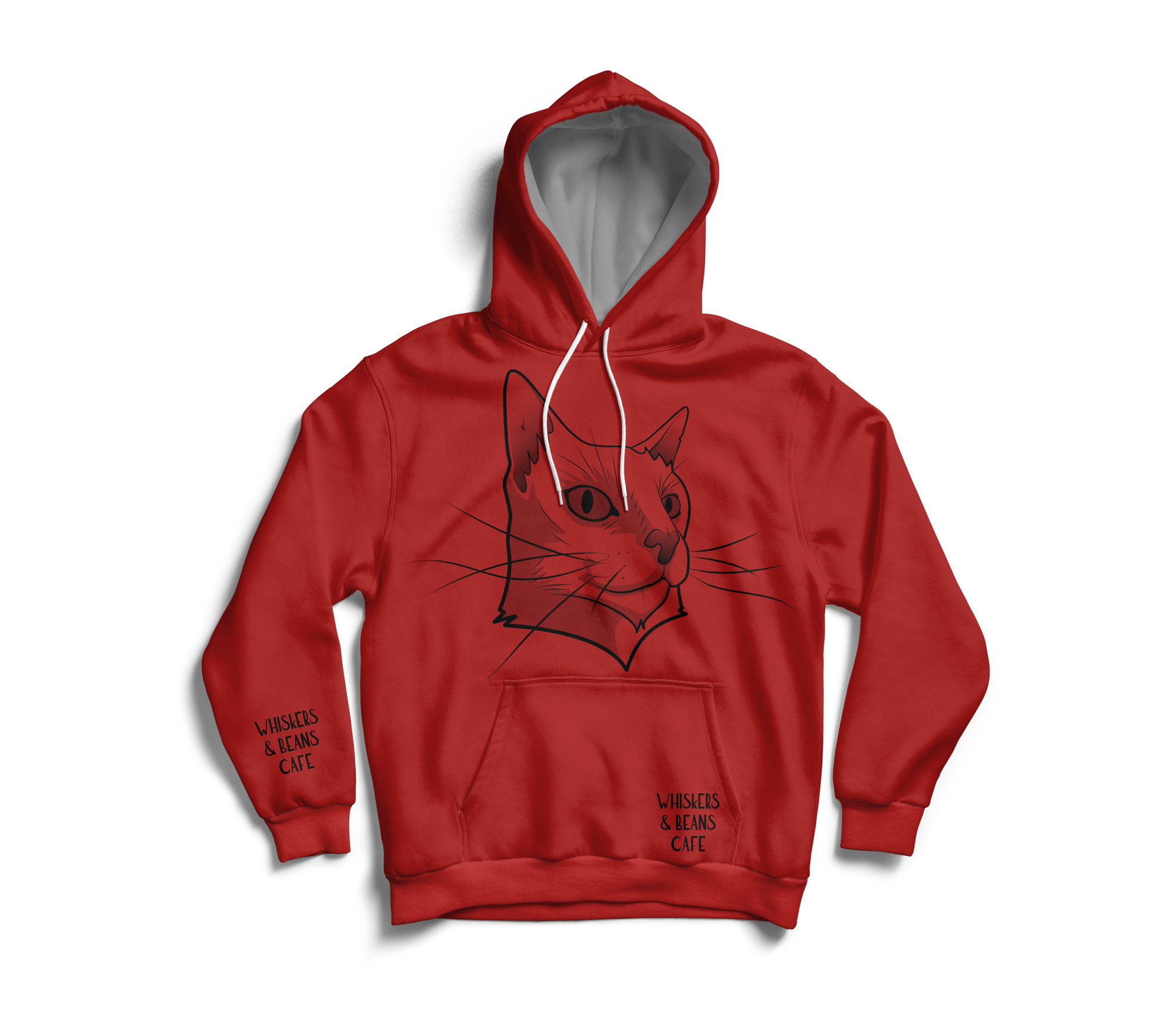 Whiskers & Beans Cafe Hoodie - red
