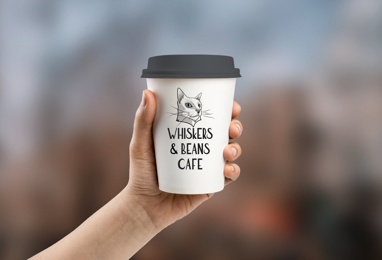 Whiskers & Beans Cafe coffee cup mockup