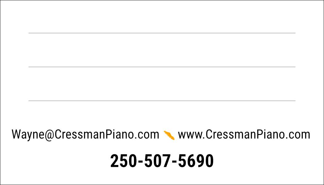 Cressman Piano Service business card back