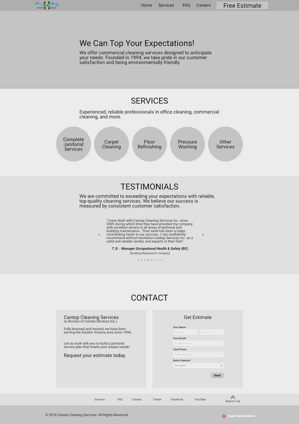 Cantop Cleaning Services Website mockup