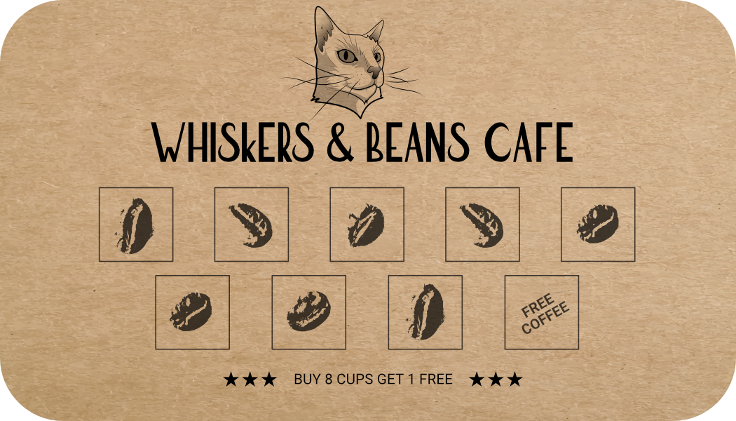 Whiskers & Beans Cafe loyalty card