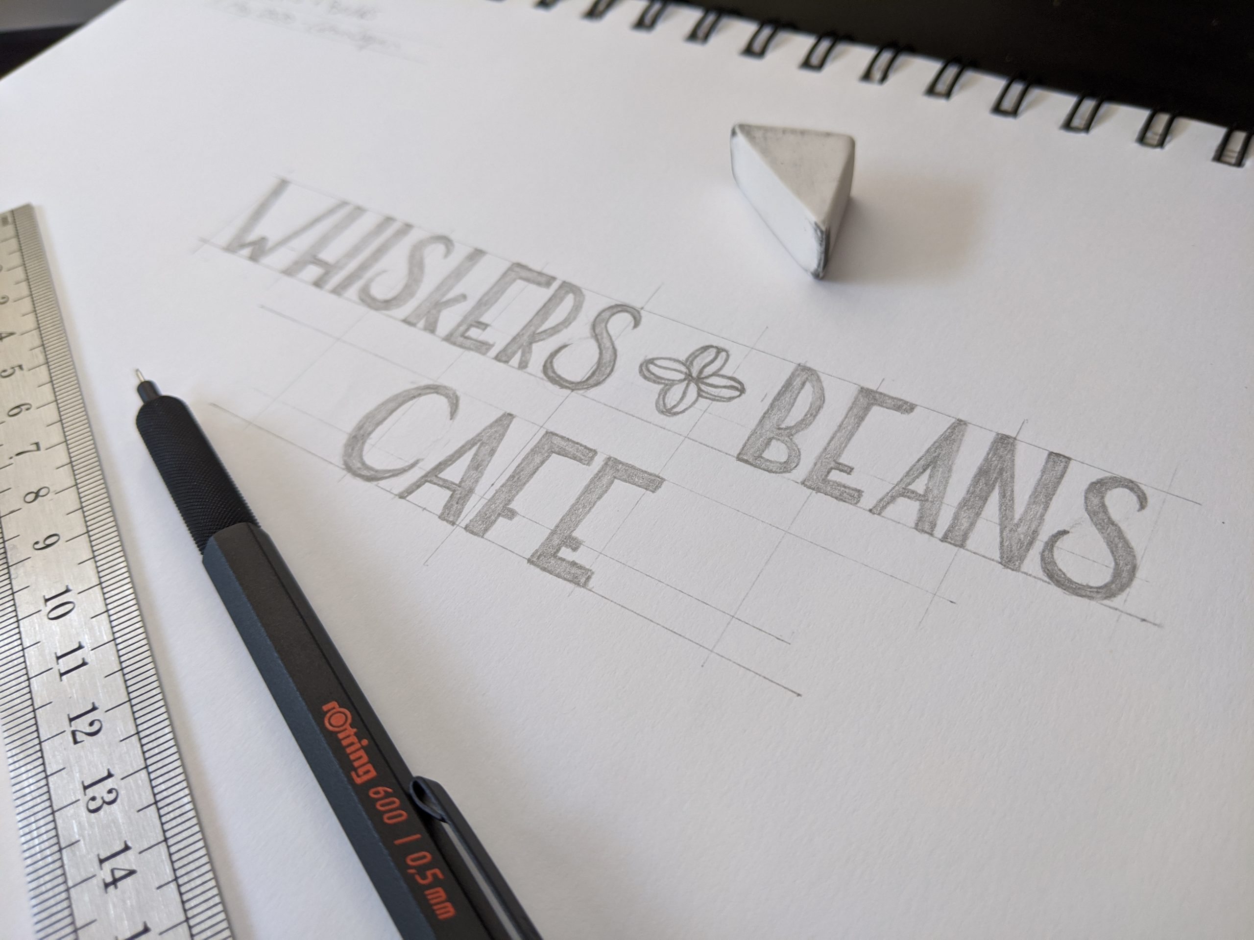 Whiskers & Beans Cafe logo concept